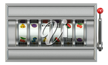 Casino and gambling. Slot machine with  empty blank reels for your text or symbols. 3d illustration