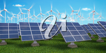 Solar panels with wind turbines on sunset summer landscape. Green energy concept. 3d illustration