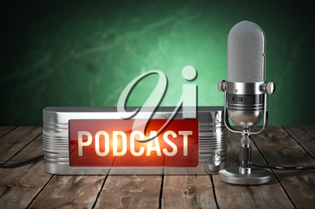 Podcast. Vintage microphone and signboard with text podcast. 3d illustration