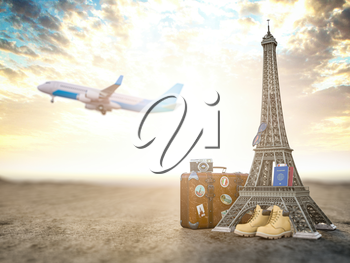 Flight to Paris, France.Vintage suiitcase with symbols of France Eiffel tower. Travel and tourism concept. 3d illustration