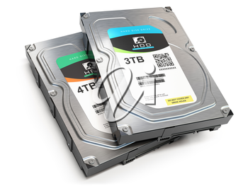Hard disk drive HDD of different size isolated on white. 3d illustration