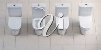 Row of toilet bowls. All are closed and one is open. 3d illustration