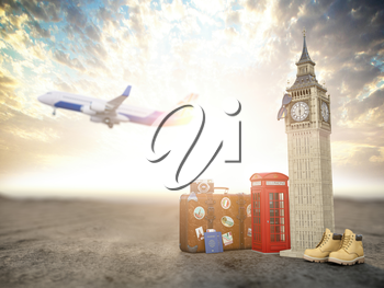 Flight to London, Great Britain.Vintage suiitcase with symbols of UK London, Big Ben and red booth. Travel and tourism concept. 3d illustration