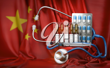 Healthcare and pharmacy in China concept. Pills, vaccine, syrringe and stethoscope in China flag. 3d illustration