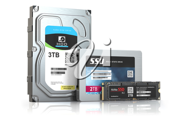Hard disk drive hdd, solid state drive ssd and ssd m2 isolated on white.  Set of different data storage devices. 3d illustration