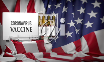 Coronavirus vaccine on flag of USA. Box with vials and syringe. 3d illustration