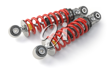 Shock absorber car isolated on white background. Auto parts and spare. 3d illustration