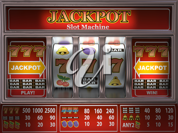 Slot machine in a casino. Onliine casino and gambling background. 3d illustration