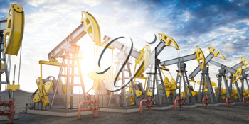 Oil pump jack imn a row. Oil production and extraction concept. 3d illustration