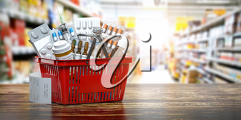 Purchasing medicines in  pharmacy drugstore. Shopping basket full of medicines, pills and blisters. 3d illustration