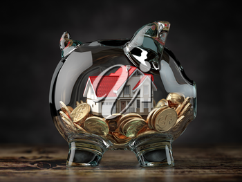 Glass piggy bank with coins and house. Mortgage, savings for real estate or to buy a house concept. 3d illustration