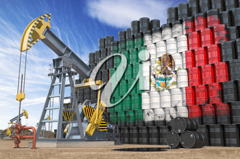 Oil production and extraction in Mexico. Oil pump jack and oil barrels with Mexican flag. 3d illustration
