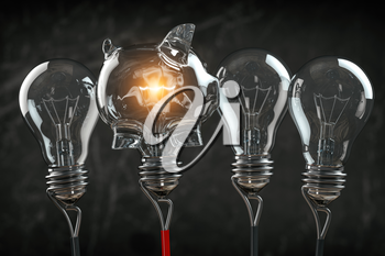 Piggy bank iand light bulbs in a row. Business investment or savings concept background. 3d illustration