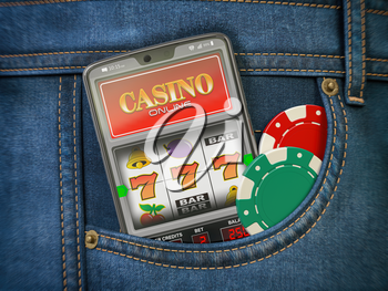 Online casino. Mobile phone or smartphone with slota machine jackpot on the screen in pocket of jeans. 3d illustration