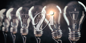 Row of light bulb with a one glowing. Idea and innovation concept. 3d illustration