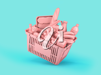 Pink shopping basket with pink food on blue background. Food delivery. 3d illustration