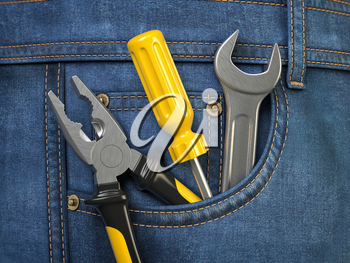 Tools in jeans pocket. Service and engineering concept. 3d illustration