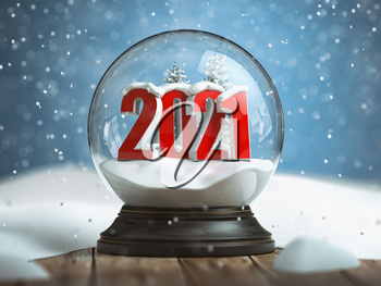 Happy new 2020 year, Snowball witn 2020 on the wooden table. 3d illustration