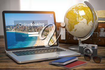 Online booking, travel destinations and tourism concept. Laptop, globe, passports, camera and other tourist accesoires. 3d illustration