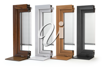 Samples of plastic window profiles PVC of different colors in section isolated on white background. 3d illustration