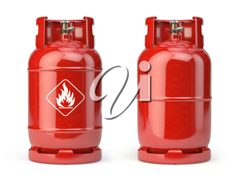 Gas bottle, cylinder or container with natural gases LNG or LPG with high pressure isolated on white background. 3d illustration