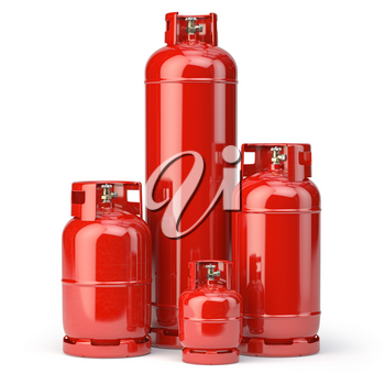 Different types of red gas bottles isolated on white background. 3d illustration
