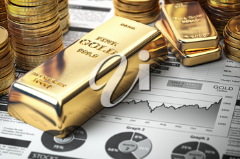 Gold bar, ingots and coins on financial  report. Growth of gold on stock market concept. 3d illustration