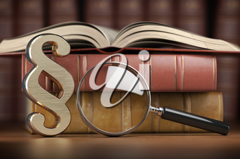 Paragraph sign with loupe and books. Searching, justice and law concept. 3d illustration