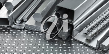 Rolled metal products. Different stainless steel profiles and tubes . 3d illustration