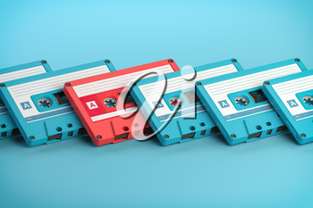 Vintage blue audio cassettes and one unique pink cassete on blue background. Creative retro concept of individuality. 3d illustration