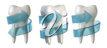 Tooth protection concept. Tooth with blue spiral arrow isolated on white. 3d illustration