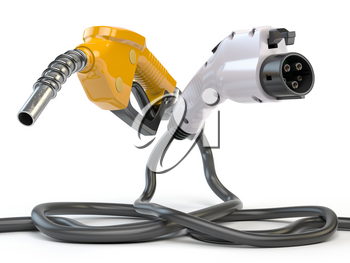 Electric vehicle EV charging plug and gas nozzle isolated on white. 3d illustration