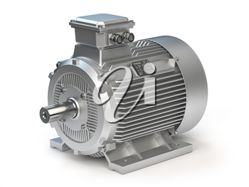 Industrial electric motor isolated on white. 3d illustration