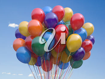 Colorful balloons bunch  floating in the sky. 3d illustration