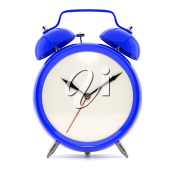 Alarm clock on white background with shadow. Vintage style blue color clock with black hands.