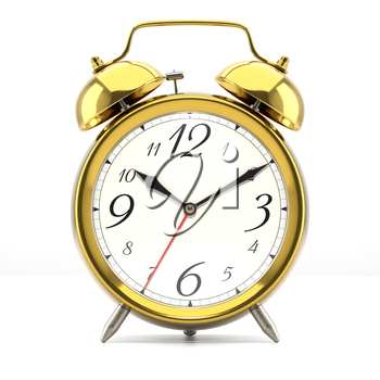 Alarm clock on white background with shadow. Vintage style golden color clock with black hands.