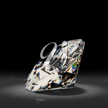Shiny white diamond on black background. High quality photo realistic image.