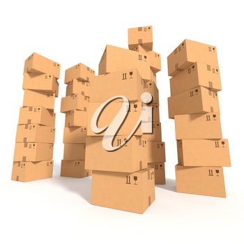 Retail, logistics, delivery, storage concept. Stacks of cardboard boxes isolated on white background. Side view with perspective. Abstract delivery symbol. Place for your text, logo. 3D illustration