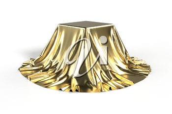 Box covered with golden fabric. Isolated on white background. Surprise, award, prize, presentation concept. Showroom stand. Reveal a hidden object. Raise the curtain. Photo realistic illustration.