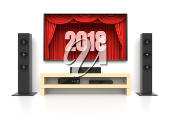 New Year 2018. Home cinema set with large lcd tv panel with theater curtains, music speakers, video disc player. Revealing new tv show, sale advertisement, movie presentation, concept. 3D illustration