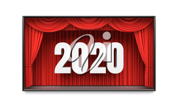 Happy New Year greeting card. Red stage curtains revealing year 2020 number. Graphic design element for premiere announcement, party invitation poster, flyer, advertisement concept. 3D illustration