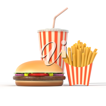 Fast food meal set on white background with shadow. Hamburger, french fries, cola in generic package with stripes. Graphic design element for restaurant advertisement, menu or poster. 3D illustration