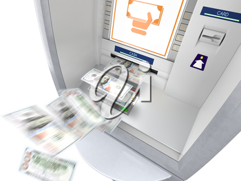 ATM machine with money banknotes flying out. Winning lottery, easy money, free gifts, get rich fast, lucky, bonus or extra income concept. Isolated on white background. 3D illustration