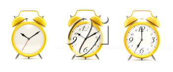 Set of 3 alarm clocks isolated on white background. Vintage style yellow clock with clean face, numbers, ringing clock. Graphic design element. Deadline, wake up, happy hour concept. 3D illustration