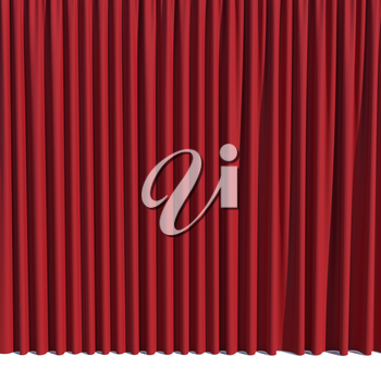Red stage curtain. Luxury silk velvet drapery isolated on white background. Realistic closed theatrical cinema curtain. Waiting for the show, revealing new product, marketing concept. 3D illustration