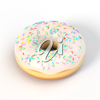Delicious colorful donut with vanilla icing, sprinkles. Macro view of american dessert on white background. Graphic design element for bakery flyer, poster, advertisement, scrapbook. 3D illustration