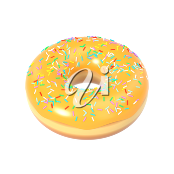 Delicious colorful donut with shiny sweet icing. Macro view of american dessert isolated on white background. Graphic design element for bakery flyer, poster, advertisement, scrapbook. 3D illustration