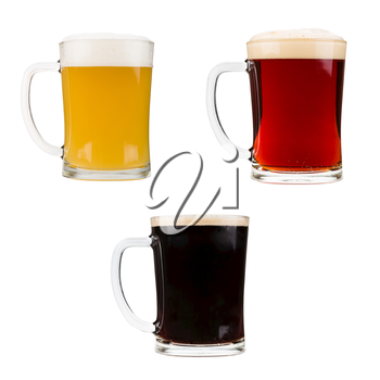 Realistic beer glasses isolated on white background. Mugs filled with red, dark and blond beer with bubbles and foam. Graphic design element for brewery ad, beer garden poster, flyers, printables.