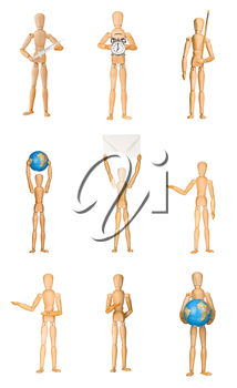 Set of wooden mannequins in different poses isolated on white background. Holding syringe, alarm clock, envelope, paint brush, Earth globe. Graphic design element for poster, flyer, advertisement.