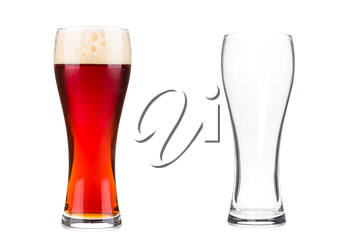 Two beer glasses isolated on white background. Empty mug and mug filled with red beer with bubbles and foam. Graphic design element for brewery ad, beer garden poster, flyers, printables.